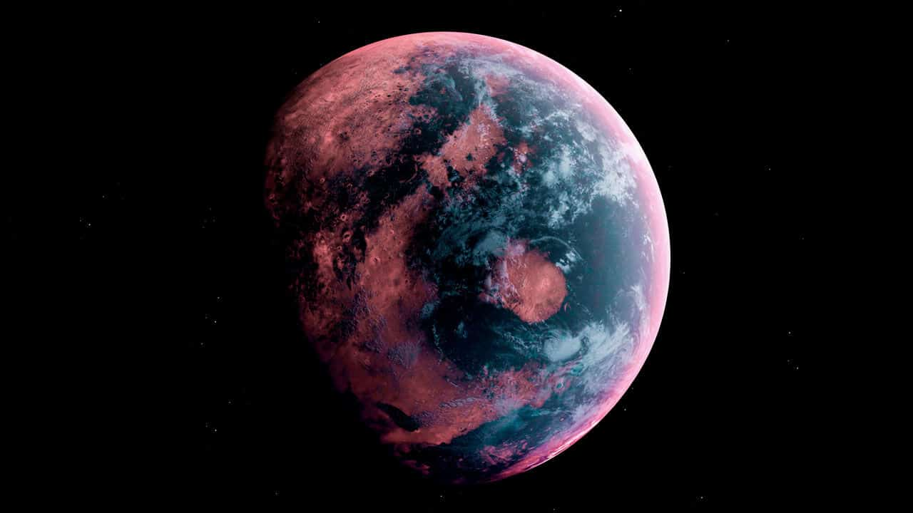 Alien Planet in the outer space. 3d rendering.